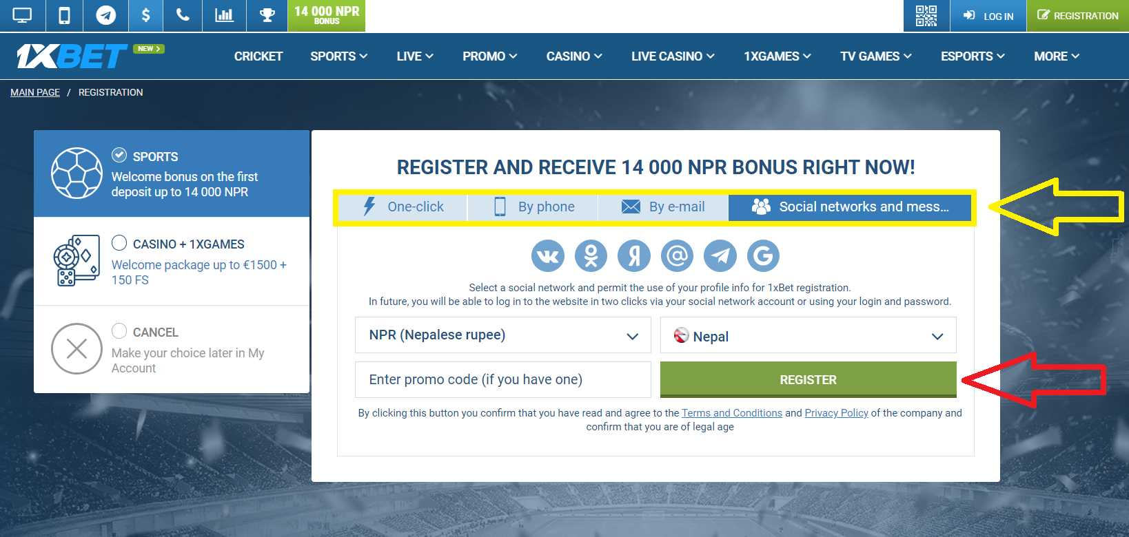 Create account from Nepal in 1XBET